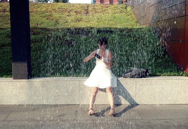 dziewczyna, deszcz
