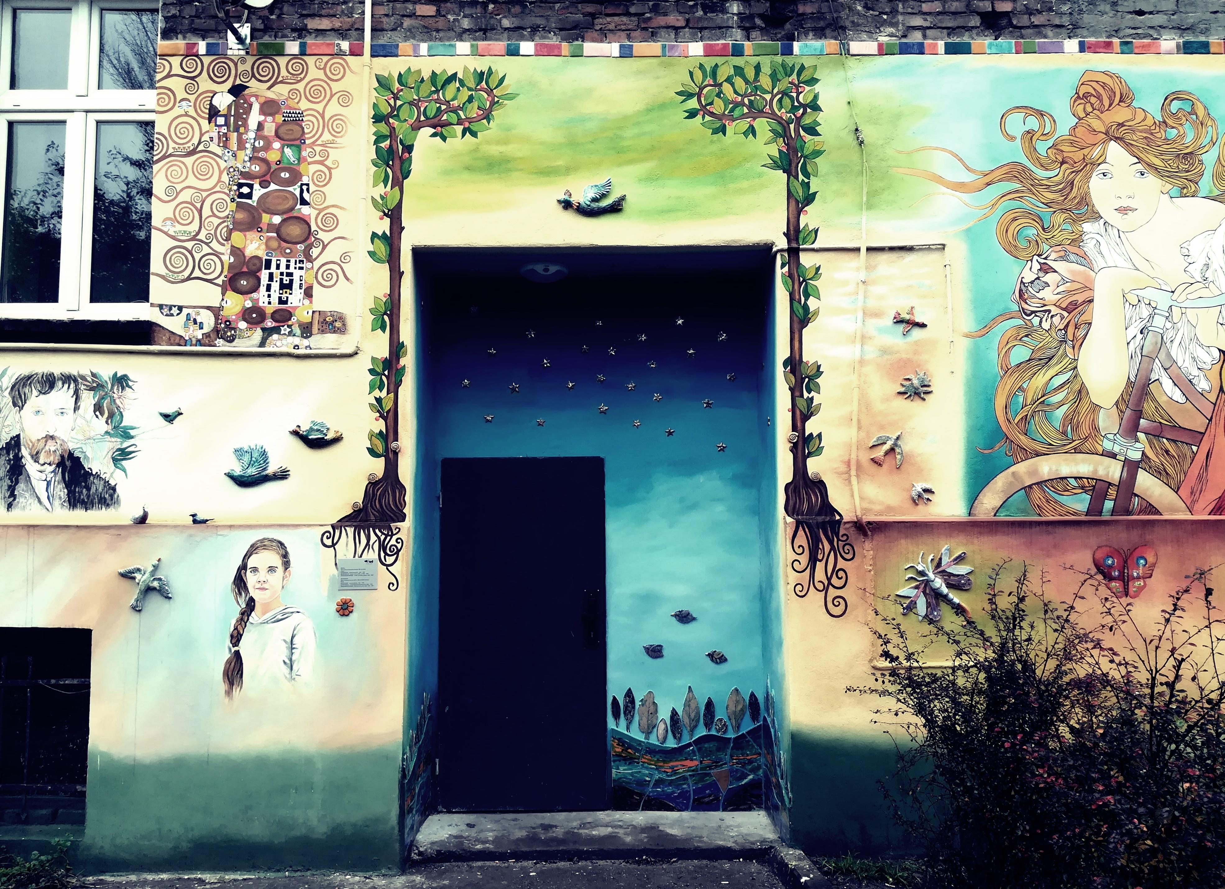 Wrocław, kamienica, Wyspiański, mural
